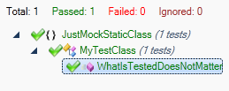 JustMock Static Test Passing
